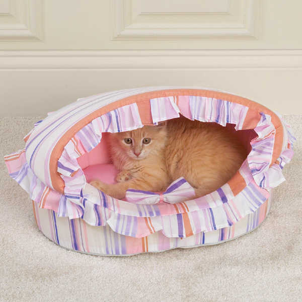 Pink Stripe Ruffled Canapy Cat Bed.