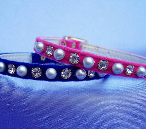 Pearl & Rhinestone on velvet dog collar