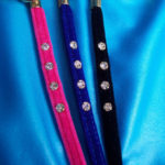 Velvet slimline rhinestone on velvet lead/leash.