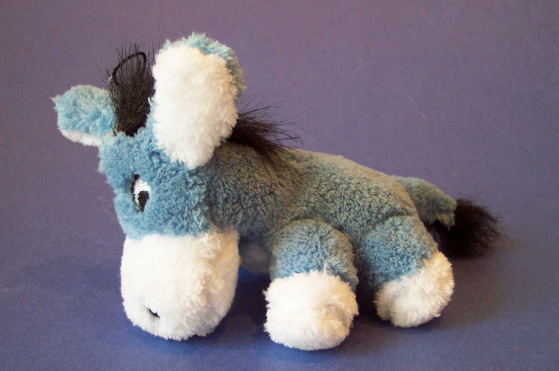 Blue plush donkey pet toy