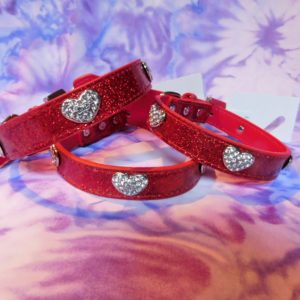 Red dog collar with heart shaped crystals