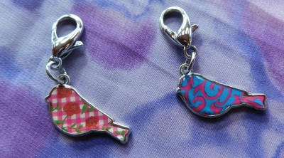 Whimsical bird collar charms