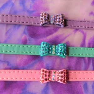 Petite pastel crystal bow dog collar.