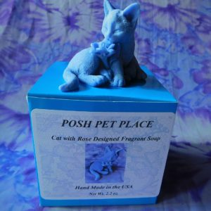 Cat shaped soap with flower