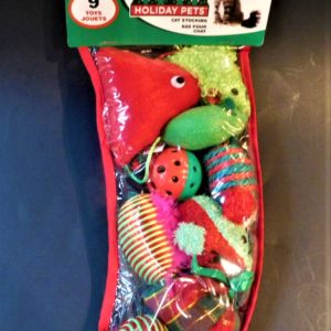 Spot Holiday filled cat stocking.
